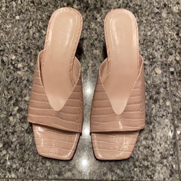 Zara Animal Print Low Heel Sandal